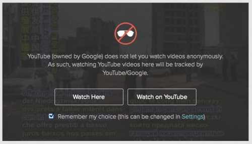 YouTube videos cannot be watched anonymously